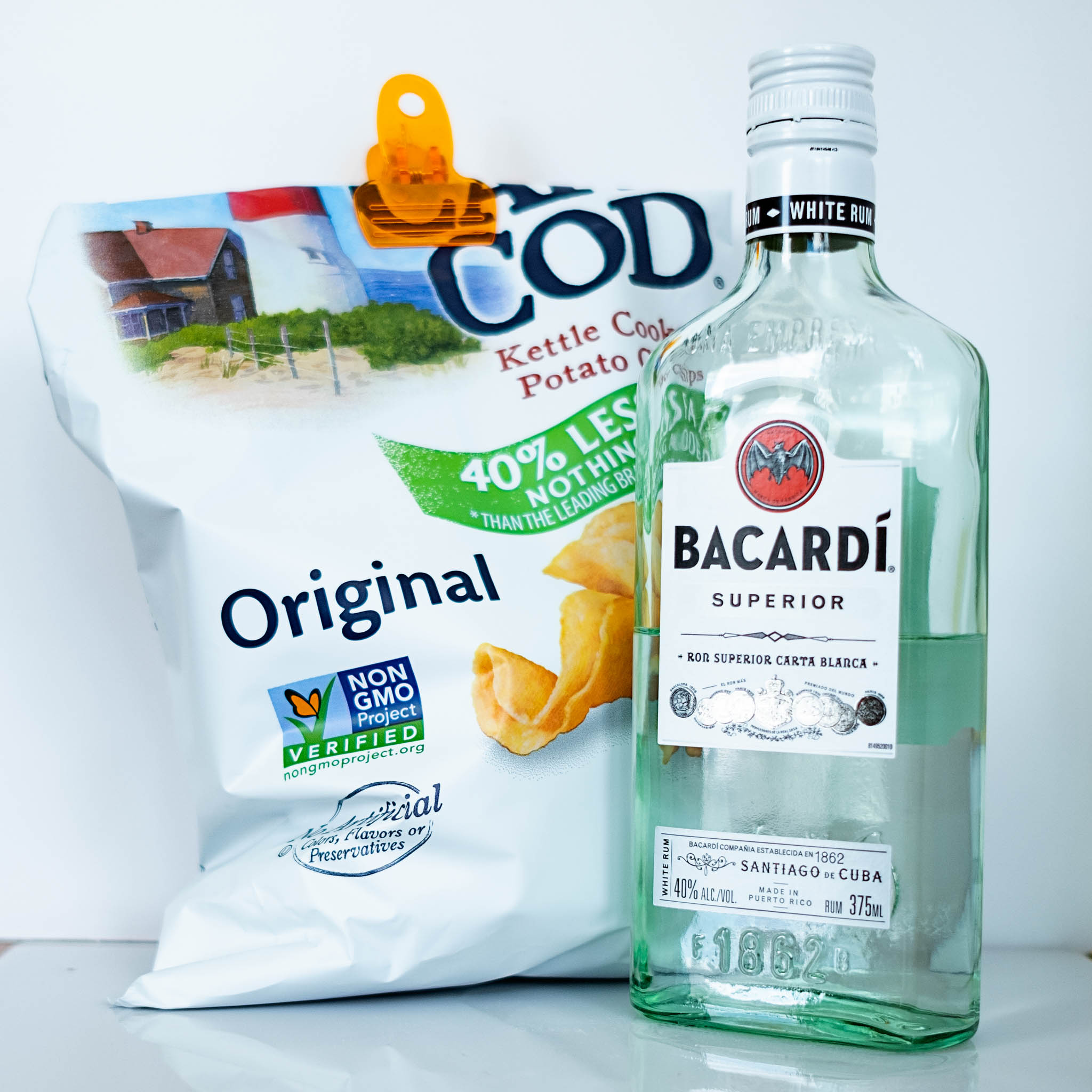 Meal of Cape Cod potato chips and Bacardi Rum photographed by Kathleen Kent
