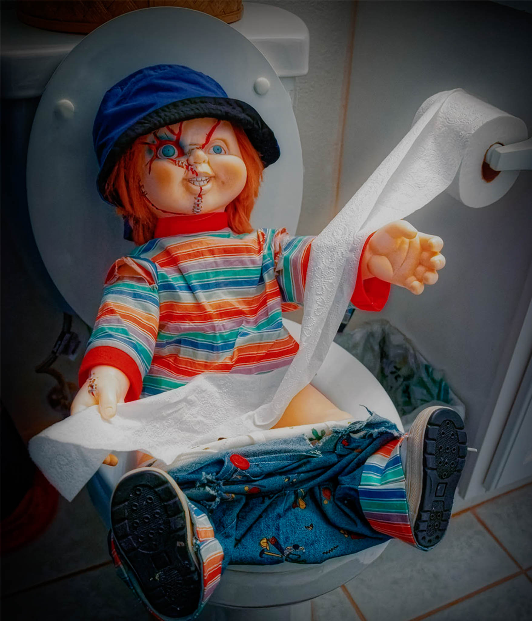 Chucky on the toilet, Andrea Savage photographer, Photography Scavenger Hunt