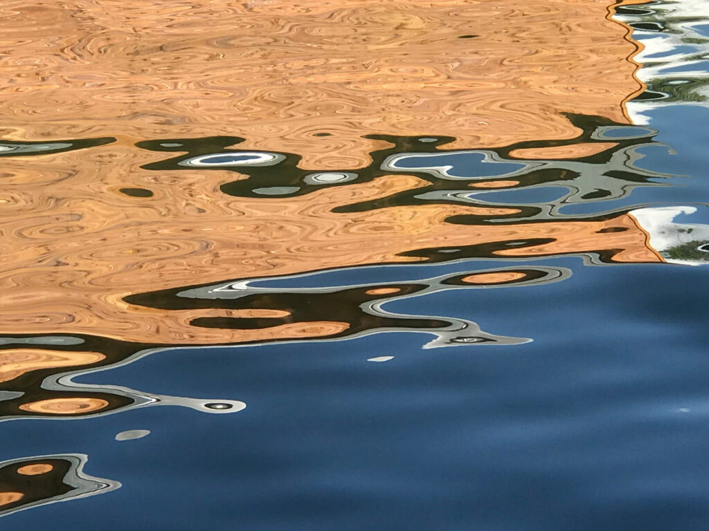 gold and blue water abstract