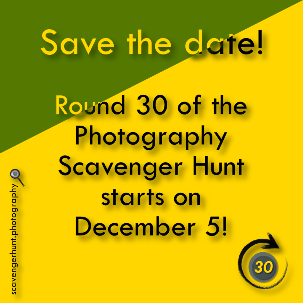 Save the Date for Round 30 of the Scavenger Hunt - December 5 2020
