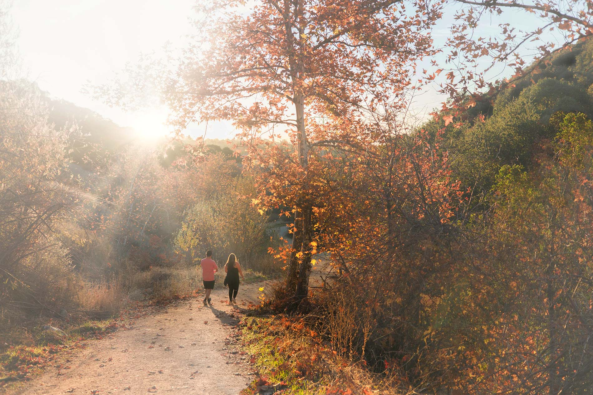 2 people walking on a trail under a warming sun