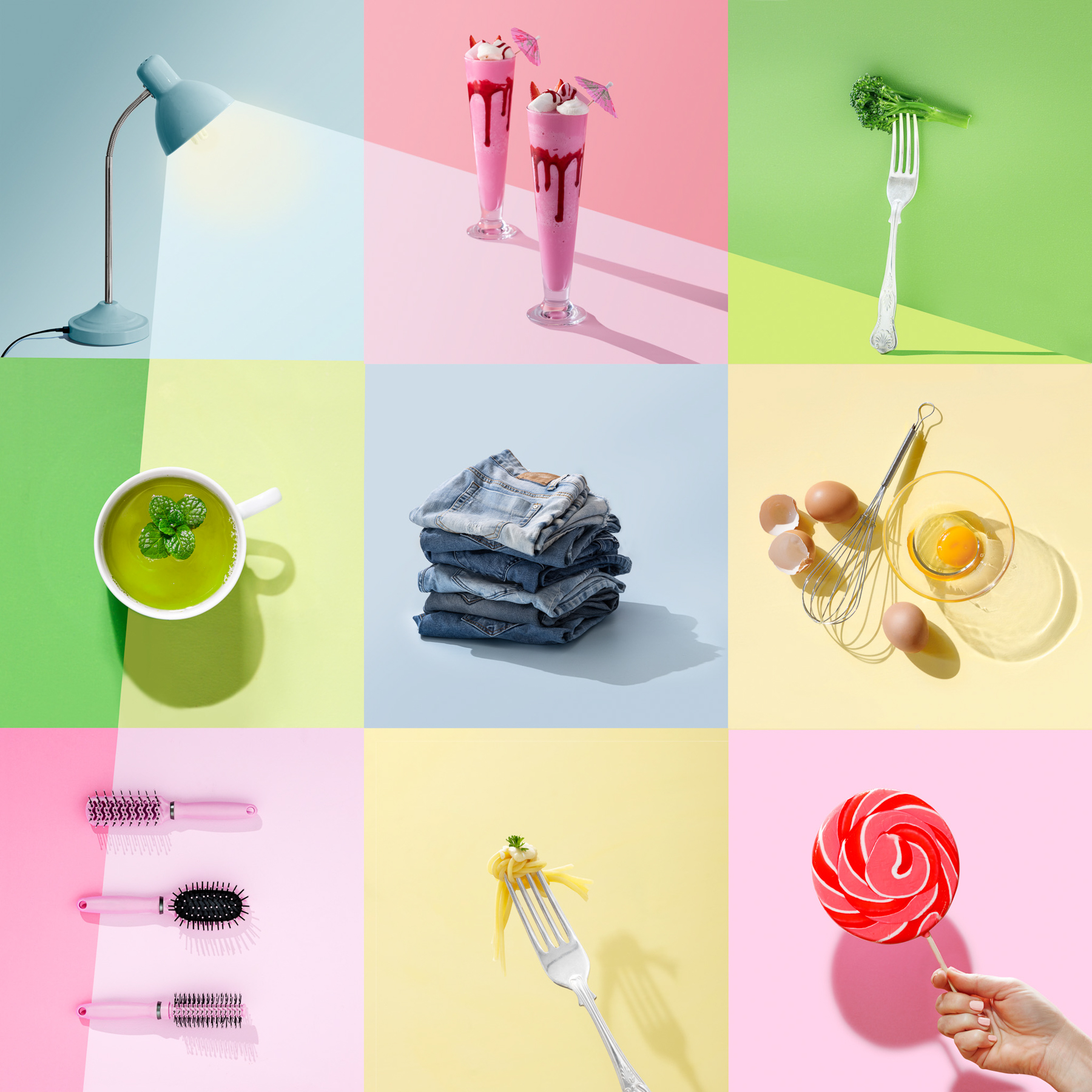 grid of 9 images in cotton candy colors being lit by a lamp, image by Carla McMahon