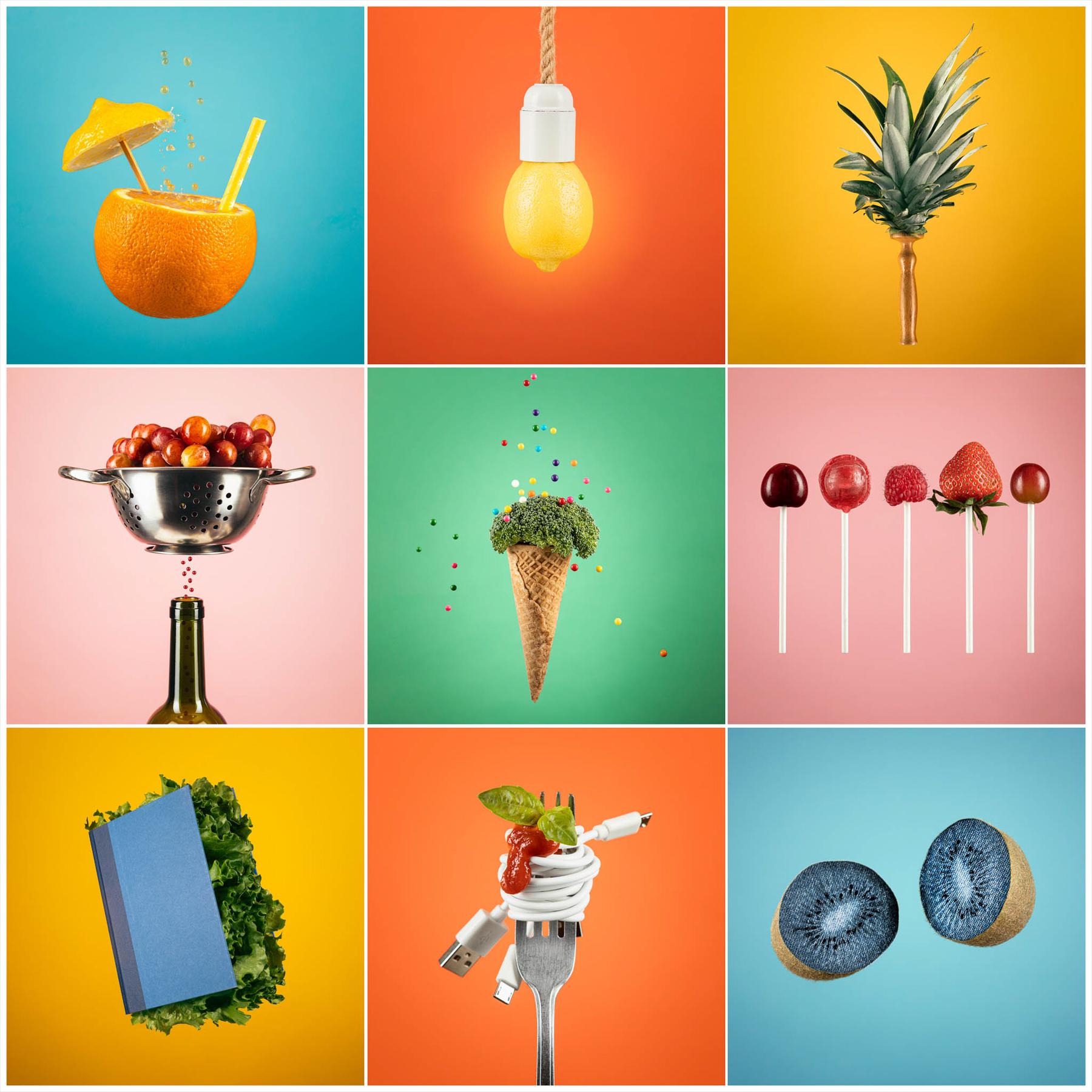 9 image grid representing umbrella, lamp, hairbrush, utensil, broccoli, lollipop, leaf, spaghetti and denim. Round 32 winner of Photography Scavenger Hunt, Yvette van Teeffelen